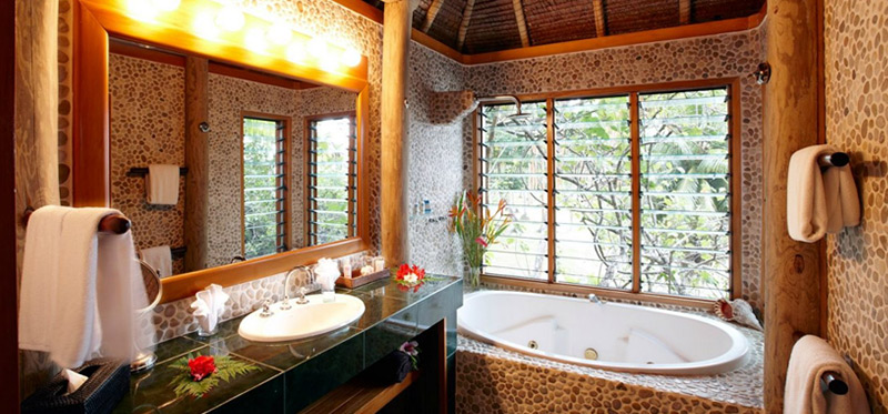 Ocean Deluxe Bure Private Spa Tub at Authentic Fiji Luxury Resort