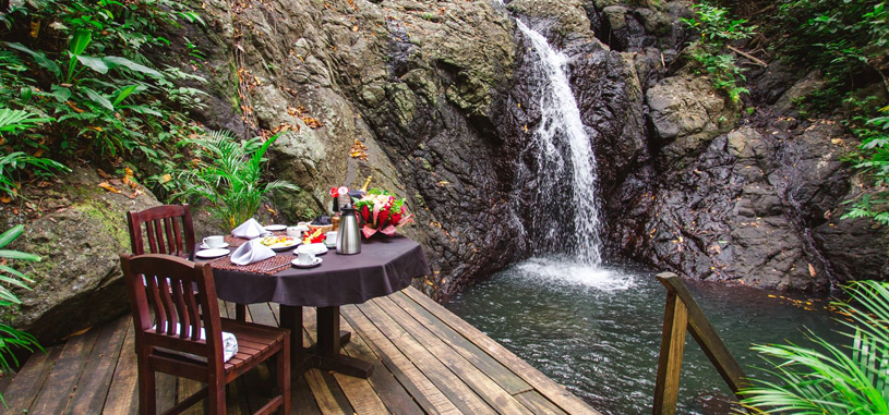 Waterfall Dining in Fiji All Inclusive Resort