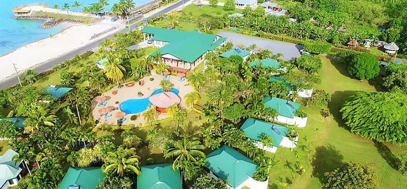 Amoa resort Aerial with Beach