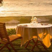 Beachside dining in Fiji resort