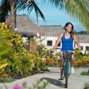 Cycling through Fiji tropical resort