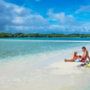 Resting on sand cay in Fiji